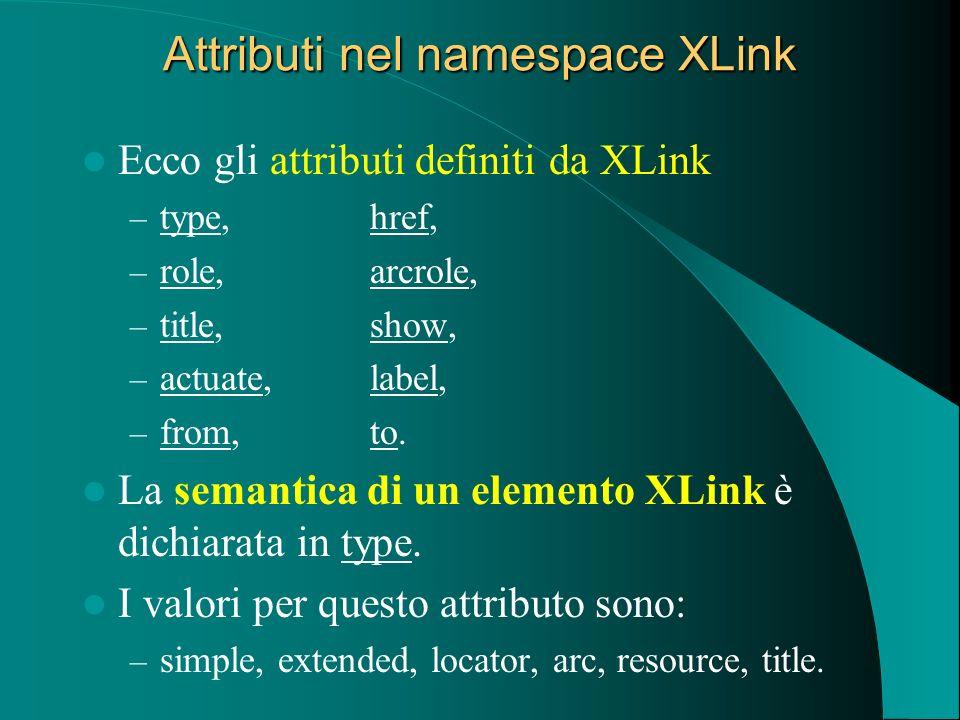 Attributi nel namespace XLink Ecco gli attributi definiti da XLink – type, href, – role, arcrole, – title, show, – actuate, label, – from, to. La sema