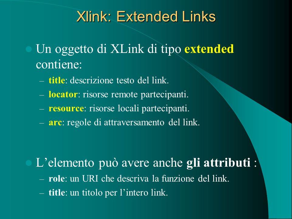 Xlink: Extended Links Un oggetto di XLink di tipo extended contiene: – title: descrizione testo del link. – locator: risorse remote partecipanti. – re