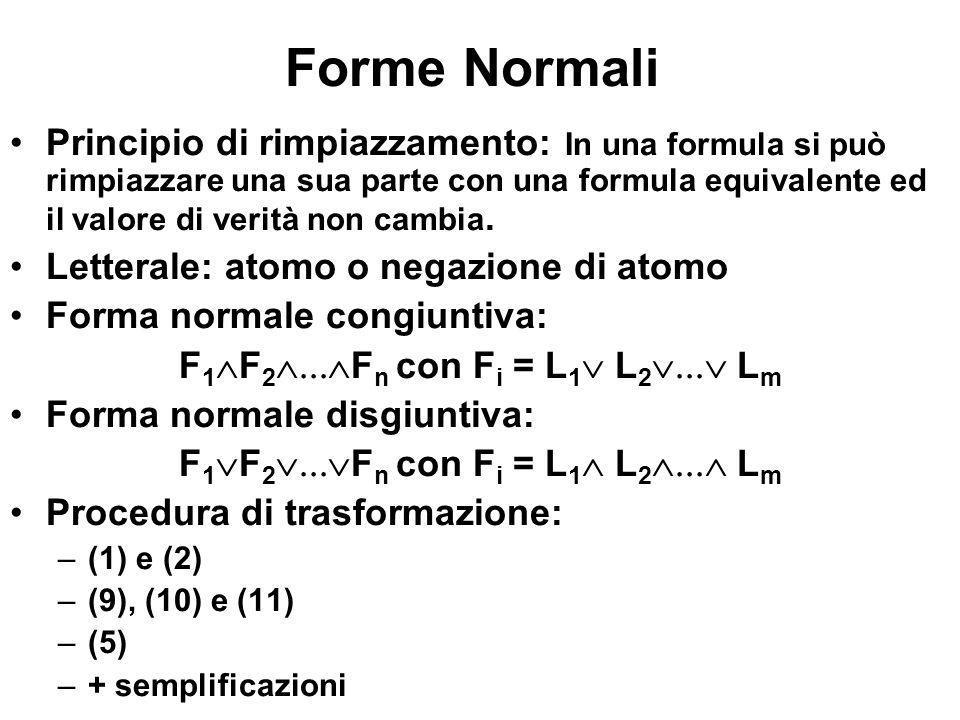 Forme Normali Principio di rimpiazzamento: In una formula si può rimpiazzare una sua parte con una formula equivalente ed il valore di verità non camb