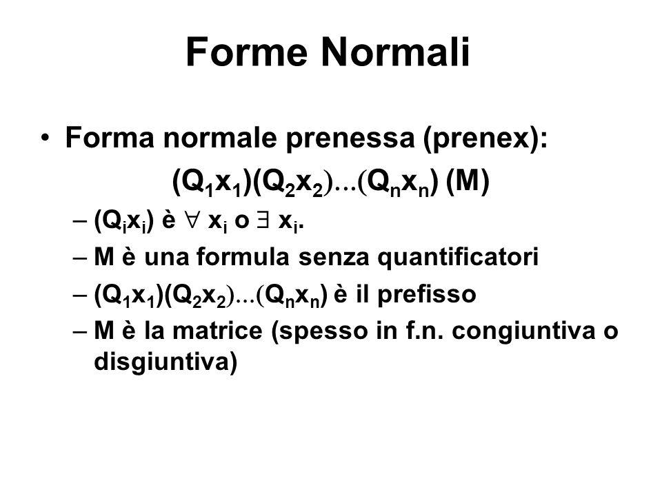 Forme Normali Forma normale prenessa (prenex): (Q 1 x 1 )(Q 2 x 2 Q n x n ) (M) –(Q i x i ) è x i o x i. –M è una formula senza quantificatori –(Q 1 x