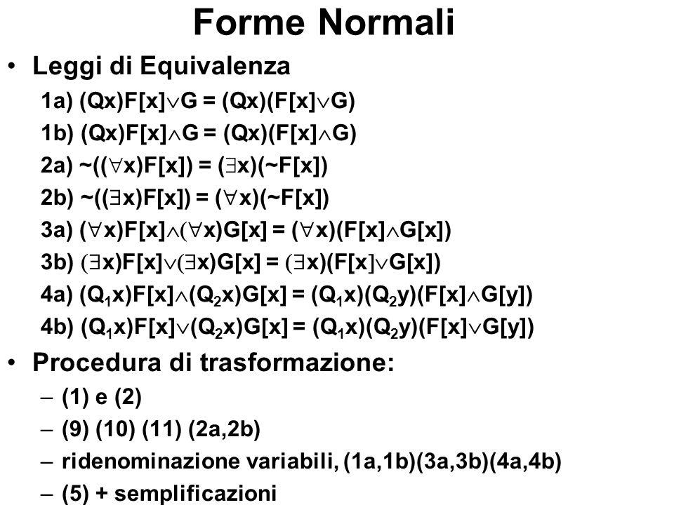 Forme Normali Leggi di Equivalenza 1a) (Qx)F[x] G = (Qx)(F[x] G) 1b) (Qx)F[x] G = (Qx)(F[x] G) 2a) ~(( x)F[x]) = ( x)(~F[x]) 2b) ~(( x)F[x]) = ( x)(~F