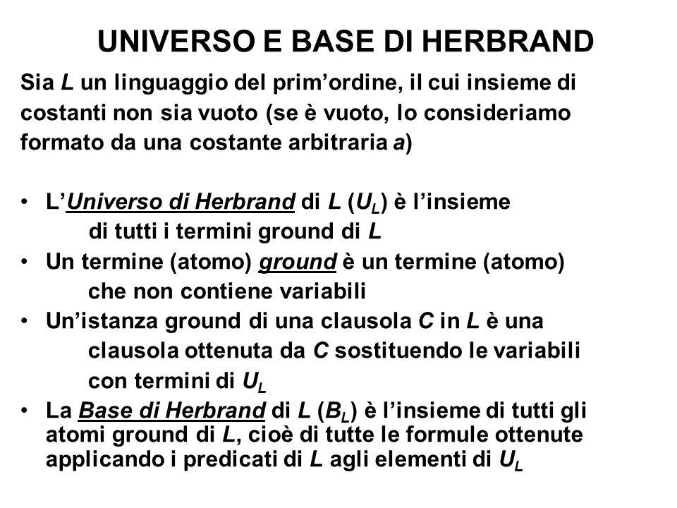 UNIVERSO E BASE DI HERBRAND Sia L un linguaggio del primordine, il cui insieme di costanti non sia vuoto (se è vuoto, lo consideriamo formato da una c