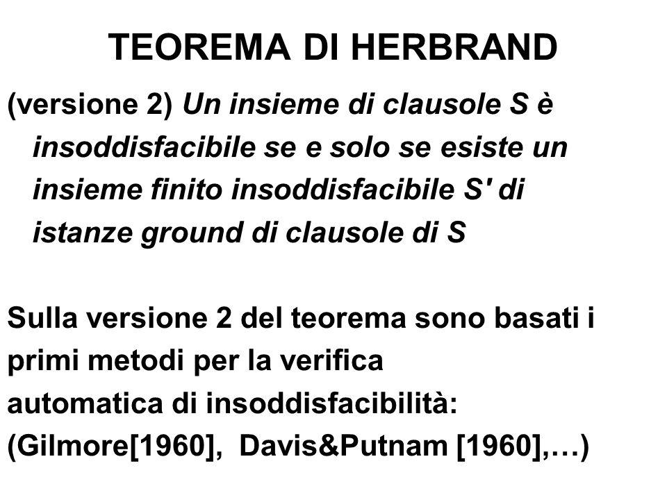 TEOREMA DI HERBRAND (versione 2) Un insieme di clausole S è insoddisfacibile se e solo se esiste un insieme finito insoddisfacibile S' di istanze grou