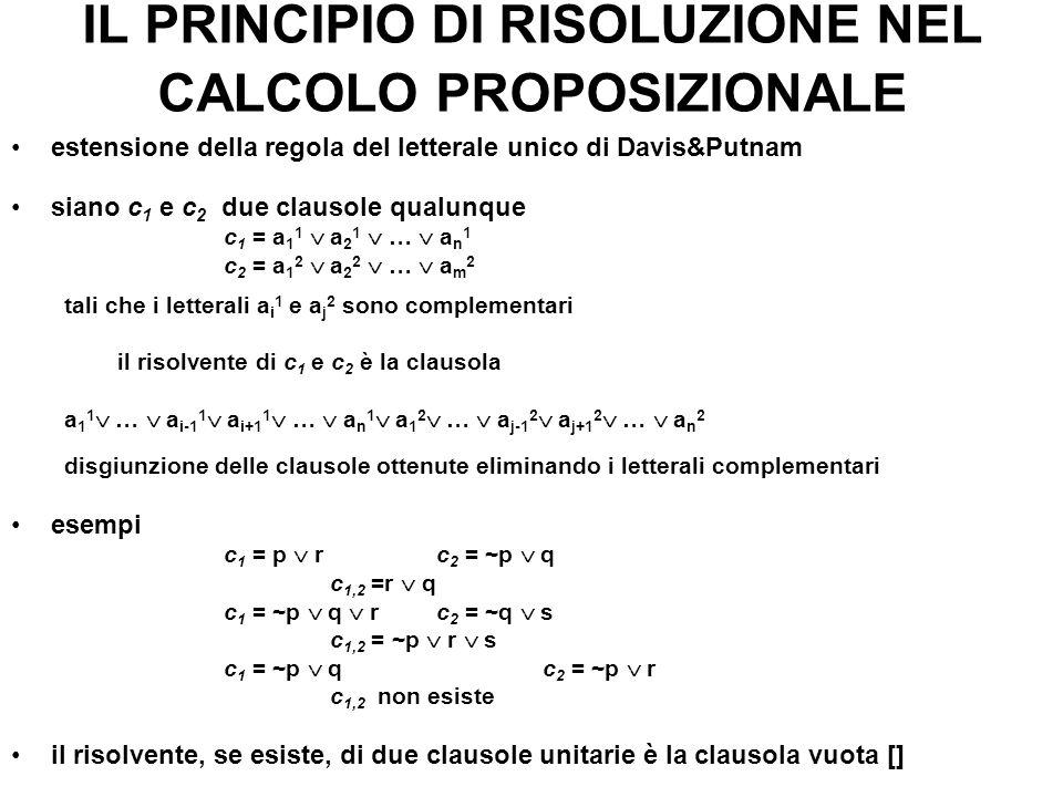 IL PRINCIPIO DI RISOLUZIONE NEL CALCOLO PROPOSIZIONALE estensione della regola del letterale unico di Davis&Putnam siano c 1 e c 2 due clausole qualun