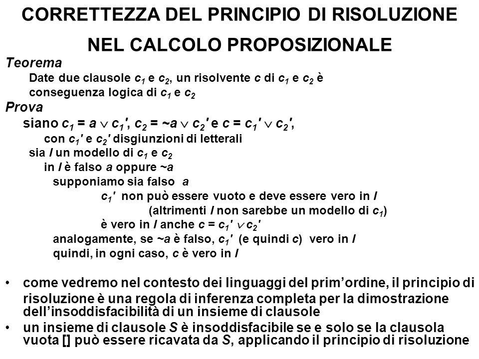 CORRETTEZZA DEL PRINCIPIO DI RISOLUZIONE NEL CALCOLO PROPOSIZIONALE Teorema Date due clausole c 1 e c 2, un risolvente c di c 1 e c 2 è conseguenza lo