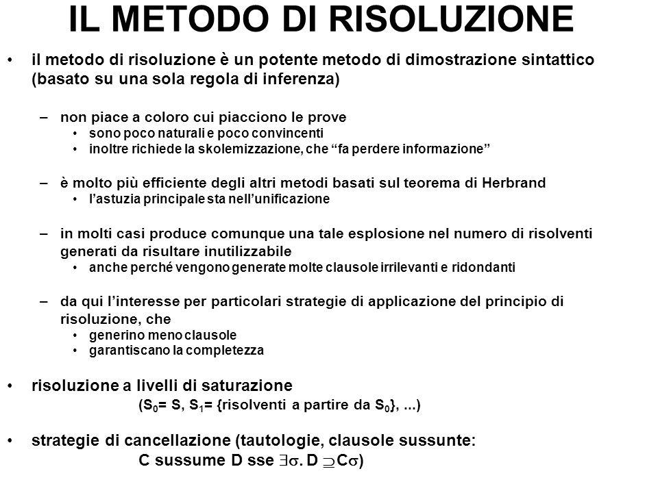 IL METODO DI RISOLUZIONE il metodo di risoluzione è un potente metodo di dimostrazione sintattico (basato su una sola regola di inferenza) –non piace