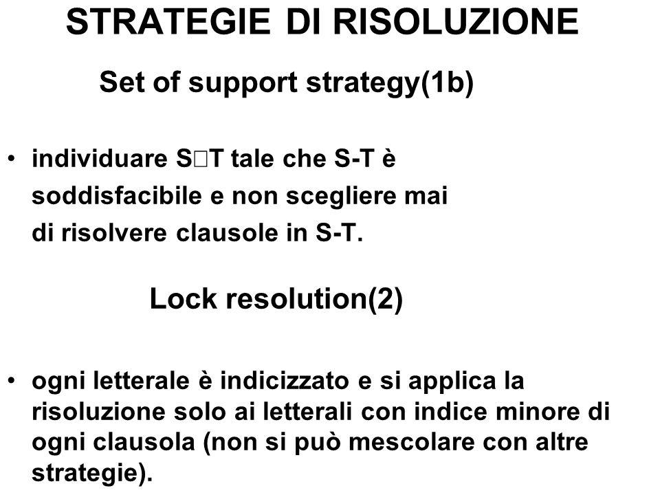 STRATEGIE DI RISOLUZIONE Set of support strategy(1b) individuare S T tale che S-T è soddisfacibile e non scegliere mai di risolvere clausole in S-T. L