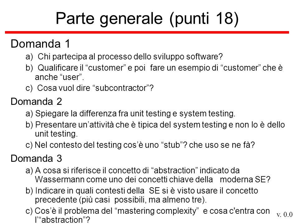 v. 0.0 Parte generale (punti 18) Domanda 1 a) Chi partecipa al processo dello sviluppo software.