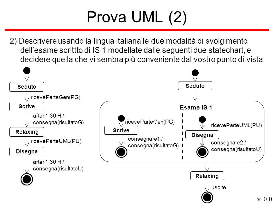 v. 0.0 Prova UML (2) 2) Descrivere usando la lingua italiana le due modalità di svolgimento dellesame scrittto di IS 1 modellate dalle seguenti due st