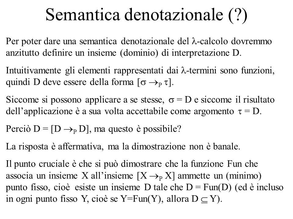 Semantica denotazionale ( ) Per poter dare una semantica denotazionale del -calcolo dovremmo anzitutto definire un insieme (dominio) di interpretazione D.