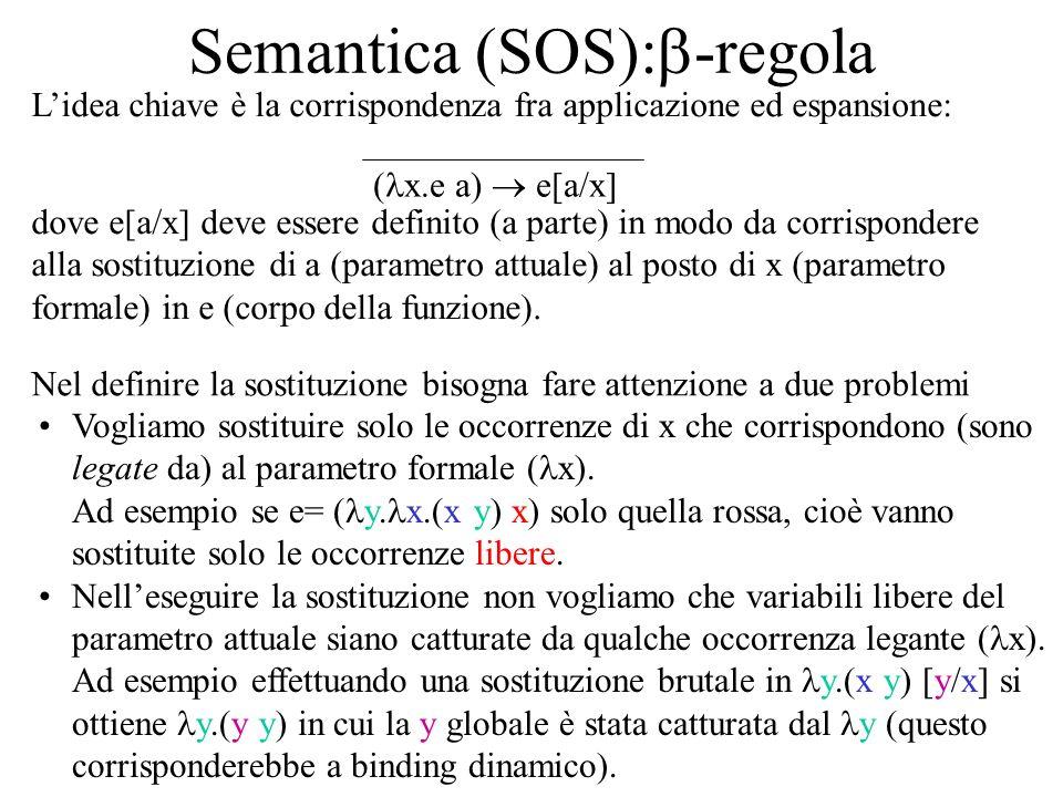 Semantica (SOS): -regola Lidea chiave è la corrispondenza fra applicazione ed espansione: ( x.e a) e[a/x] dove e[a/x] deve essere definito (a parte) in modo da corrispondere alla sostituzione di a (parametro attuale) al posto di x (parametro formale) in e (corpo della funzione).