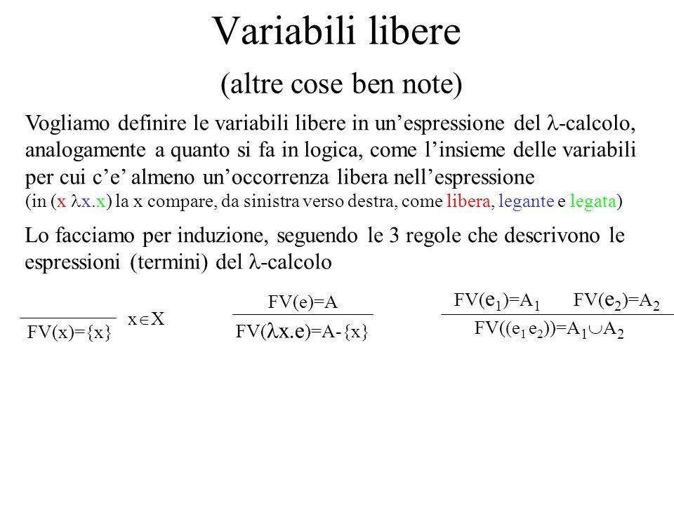 Definizione di sostituzione x[a/x]=a ogni occorrenza libera va sostituita le altre variabili restano immutate y[a/x]=y xy le occorrenze legate restano immutate x.e[a/x]= x.e le altre variabili legate restano immutate y.e[a/x]= y.e e[a/x]= e xy y FV(a) facendo attenzione a non legare eventuali variabili libere lapplicazione è trasparente (e 1 e 2 )[a/x]=(e 1 e 2 ) e 1 [a/x] = e 1 e 2 [a/x] = e 2 y.(x x.(x y))[(t w)/x]= y.((x x.(x y)) [(t w)/x]) = y.