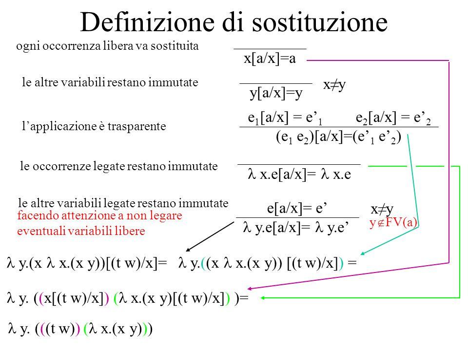 …e se y FV(a), come si fa a sostituire a al posto di x.