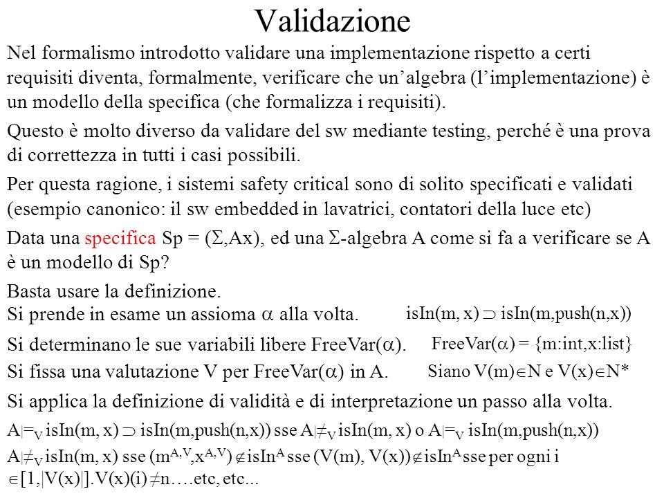 Validazione Nel formalismo introdotto validare una implementazione rispetto a certi requisiti diventa, formalmente, verificare che unalgebra (limpleme