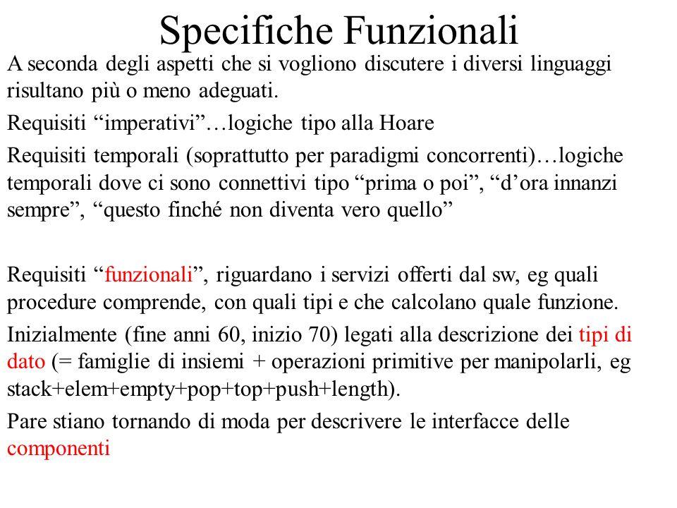 Specifiche Funzionali A seconda degli aspetti che si vogliono discutere i diversi linguaggi risultano più o meno adeguati. Requisiti imperativi…logich