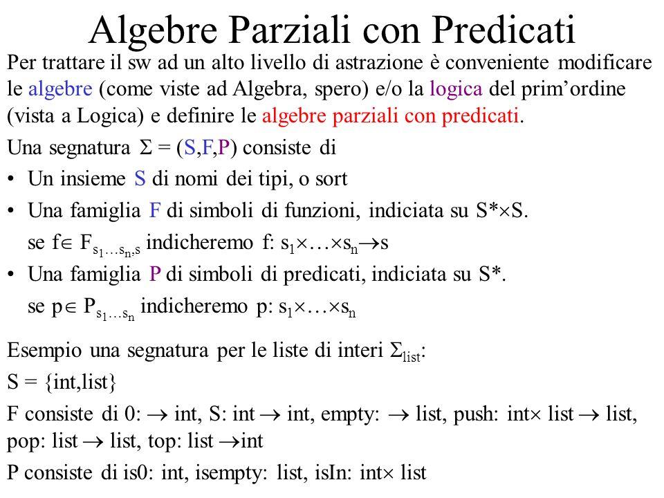 Algebre Parziali con Predicati (2) Data una segnatura = (S,F,P) una -algebra (parziale con predicati) consiste di Un insieme s A per ogni s S, detto carrier o supporto di tipo s in A Una funzione parziale f A : s 1 A … s n A s A per ogni f: s 1 … s n s F, detta interpretazione di f in A Un insieme p A s 1 A … s n A per ogni p: s 1 … s n P, detto insieme di verità di p in A Se tutte le funzioni di unalgebra sono totali, lalgebra si dice totale Esempio unalgebra sulla segnatura list : int A = N, list A = N* 0 A = 0, S A (x) =x+1, empty A =, push A (n,x) = nx, pop A (nx) = x e pop A ( ) indefinito, top A (nx) = n e top A ( ) indefinito.
