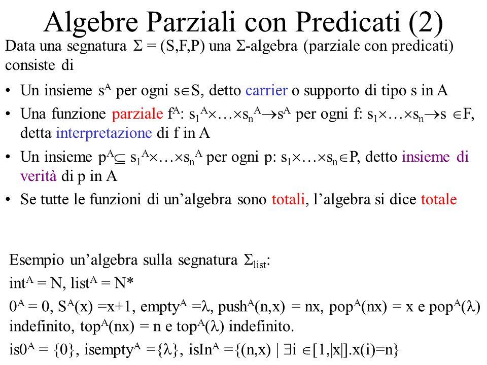Algebre Parziali con Predicati (2) Data una segnatura = (S,F,P) una -algebra (parziale con predicati) consiste di Un insieme s A per ogni s S, detto c