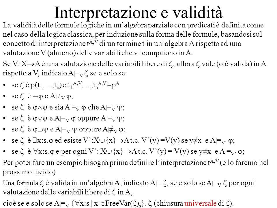 Interpretazione e validità La validità delle formule logiche in unalgebra parziale con predicati è definita come nel caso della logica classica, per i