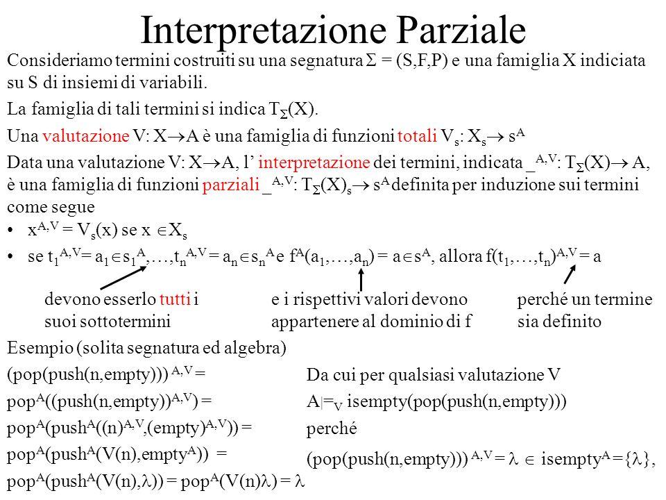 Interpretazione Parziale Consideriamo termini costruiti su una segnatura = (S,F,P) e una famiglia X indiciata su S di insiemi di variabili. La famigli