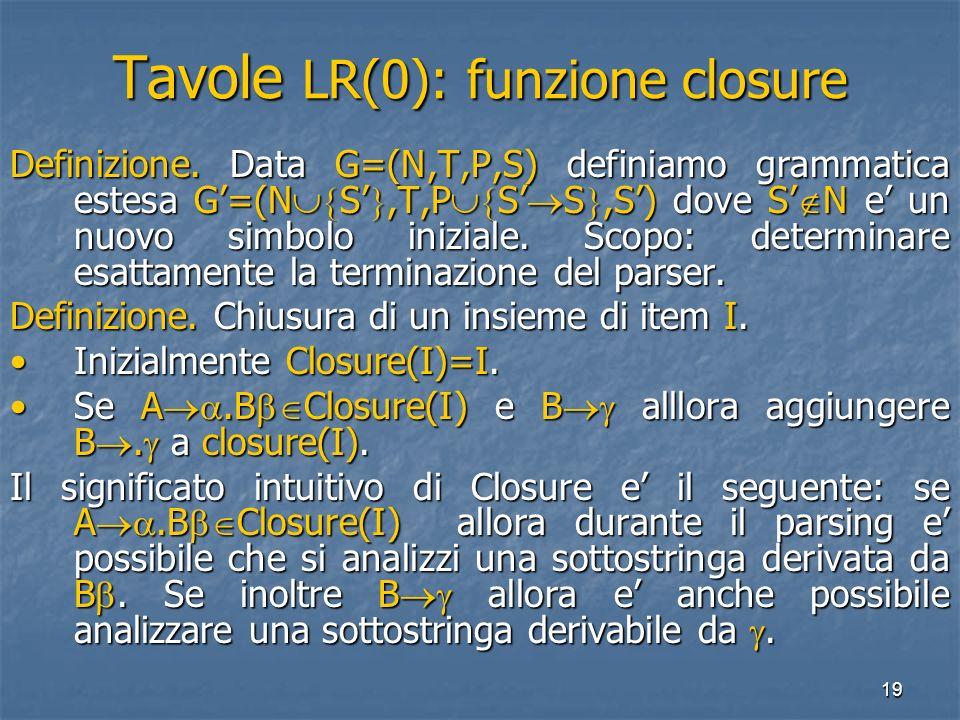 19 Tavole LR(0): funzione closure Definizione. Data G=(N,T,P,S) definiamo grammatica estesa G=(N S,T,P S S,S) dove S N e un nuovo simbolo iniziale. Sc