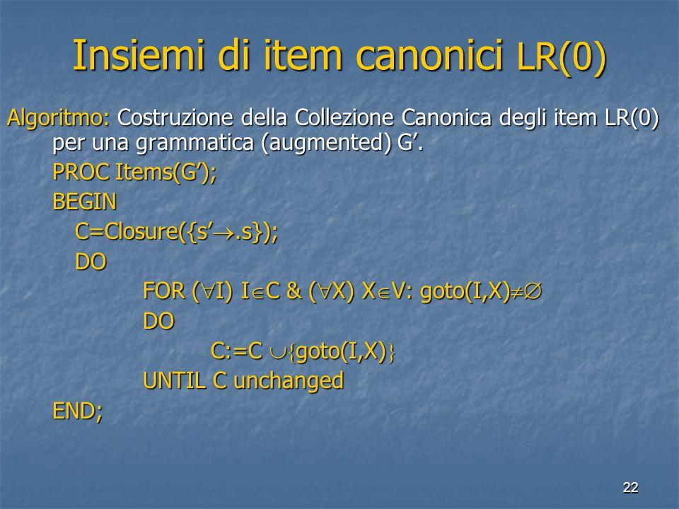 22 Insiemi di item canonici LR(0) Algoritmo: Costruzione della Collezione Canonica degli item LR(0) per una grammatica (augmented) G. PROC Items(G); B