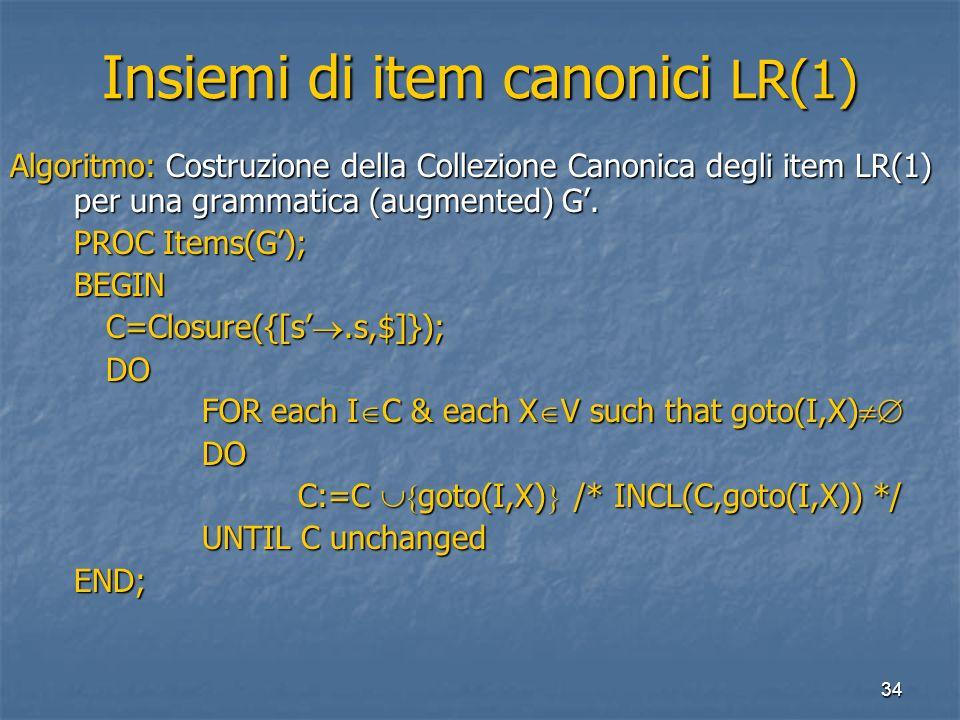 34 Insiemi di item canonici LR(1) Algoritmo: Costruzione della Collezione Canonica degli item LR(1) per una grammatica (augmented) G. PROC Items(G); B