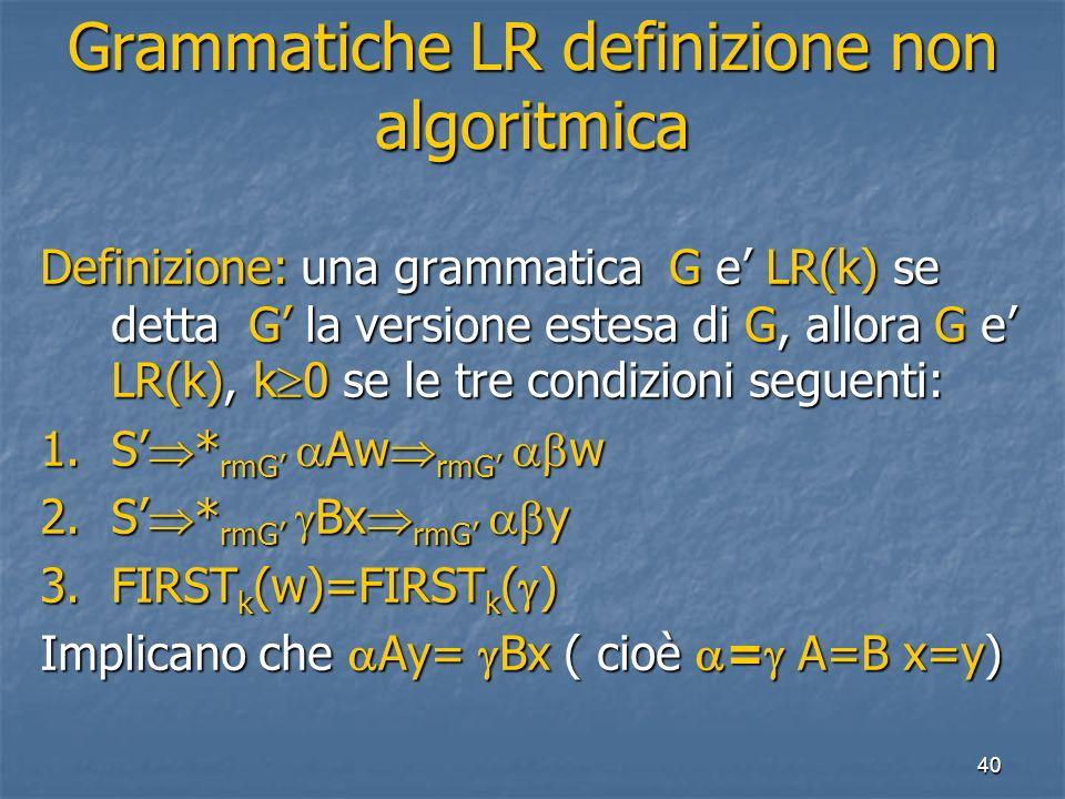 40 Grammatiche LR definizione non algoritmica Definizione: una grammatica G e LR(k) se detta G la versione estesa di G, allora G e LR(k), k 0 se le tre condizioni seguenti: 1.S * rmG Aw rmG w 2.S * rmG Bx rmG y 3.FIRST k (w)=FIRST k ( ) Implicano che Ay= Bx ( cioè = A=B x=y)