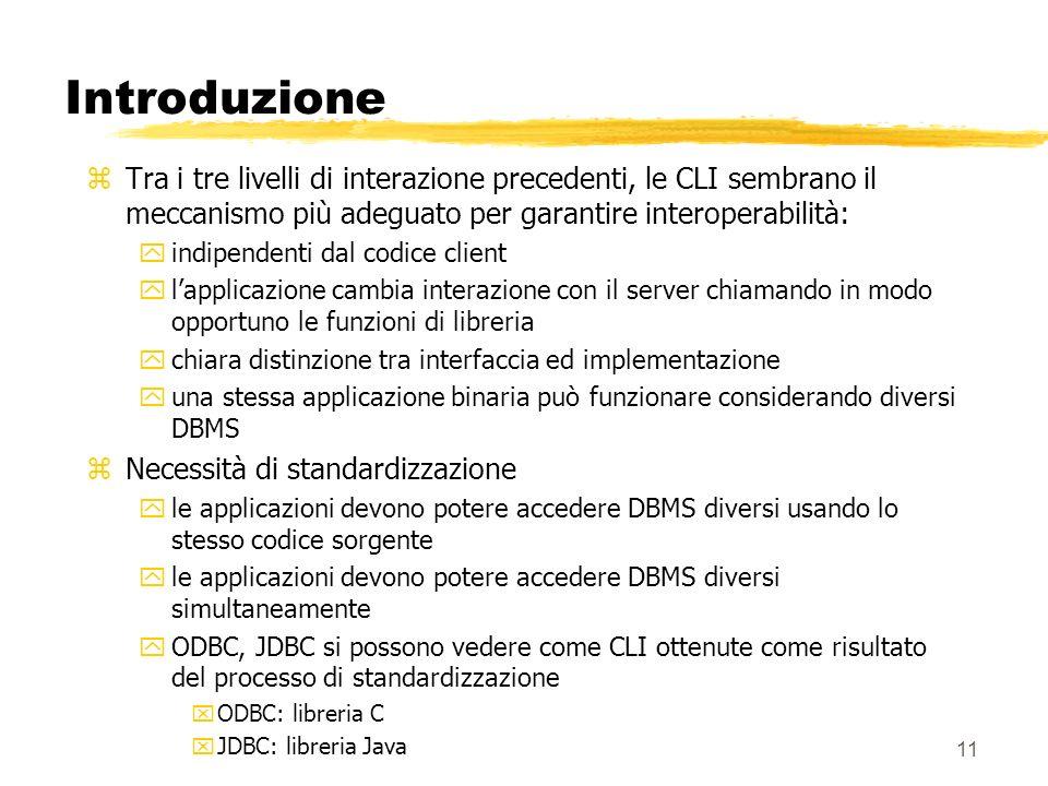 11 Introduzione zTra i tre livelli di interazione precedenti, le CLI sembrano il meccanismo più adeguato per garantire interoperabilità: yindipendenti