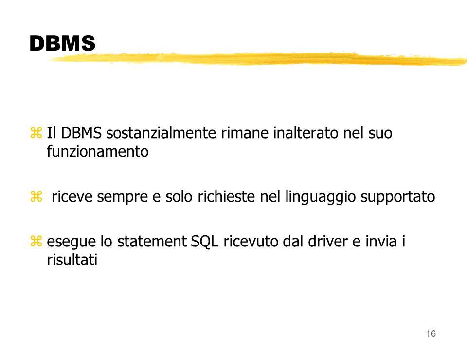 16 DBMS zIl DBMS sostanzialmente rimane inalterato nel suo funzionamento z riceve sempre e solo richieste nel linguaggio supportato zesegue lo stateme