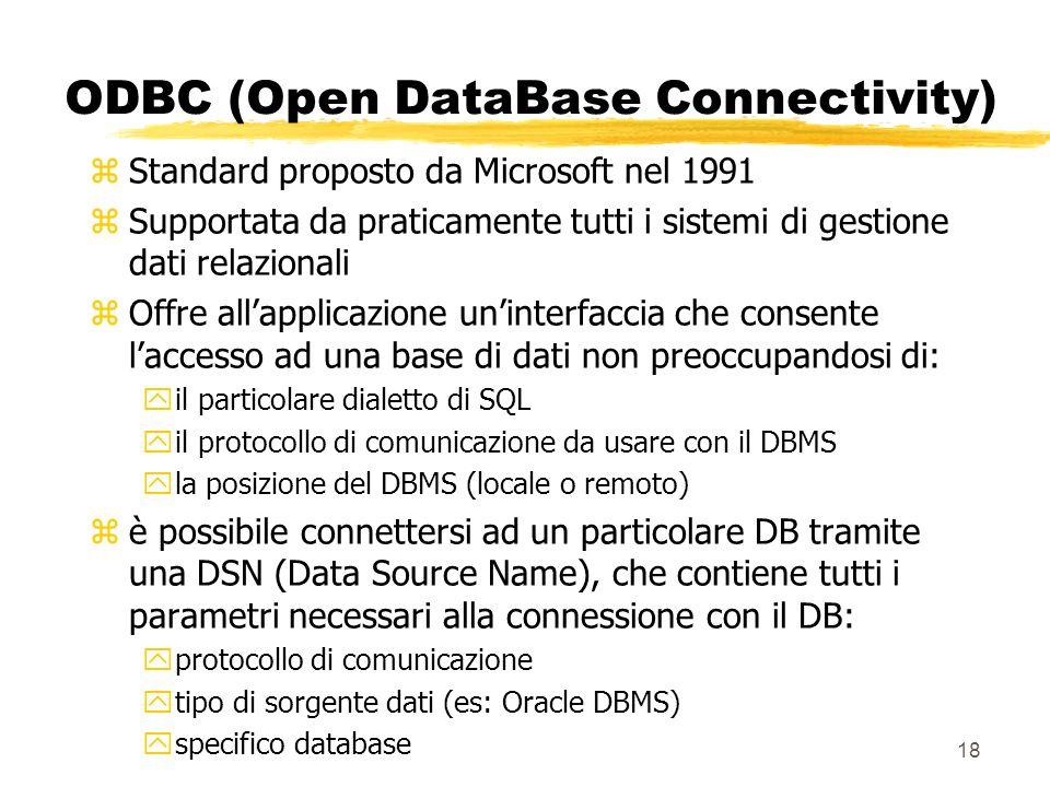 18 ODBC (Open DataBase Connectivity) zStandard proposto da Microsoft nel 1991 zSupportata da praticamente tutti i sistemi di gestione dati relazionali