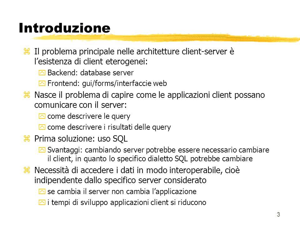 3 Introduzione zIl problema principale nelle architetture client-server è lesistenza di client eterogenei: yBackend: database server yFrontend: gui/fo