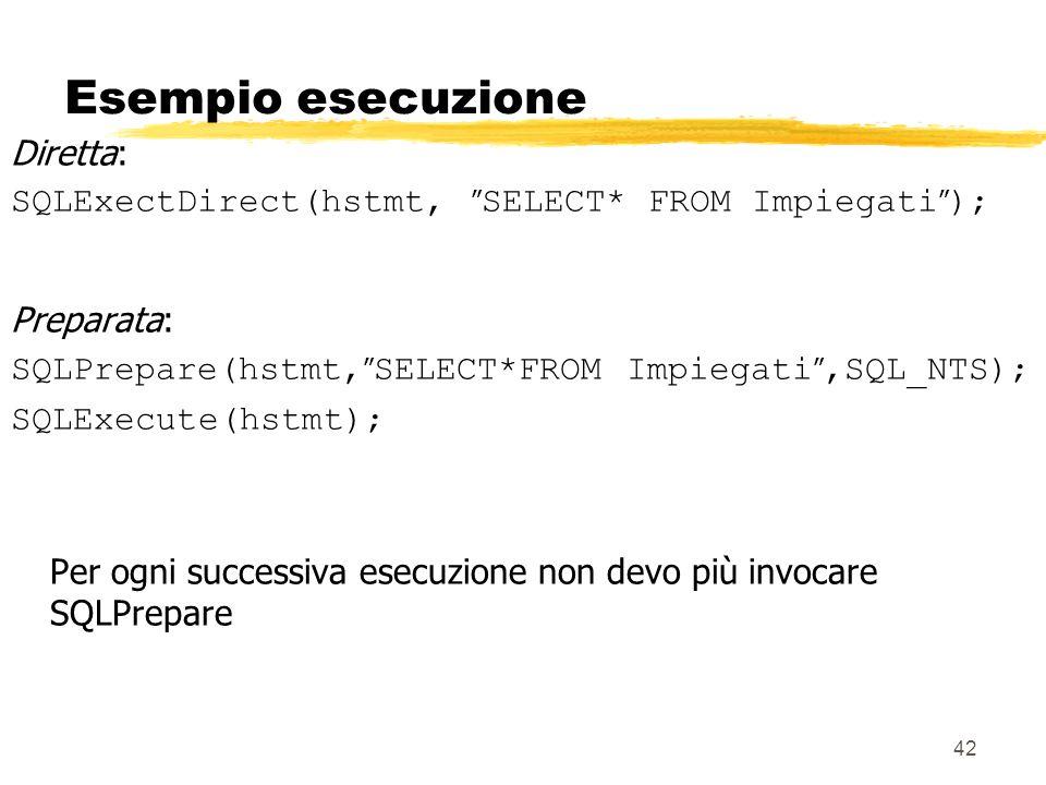 42 Esempio esecuzione Diretta: SQLExectDirect(hstmt, SELECT* FROM Impiegati ); Preparata: SQLPrepare(hstmt, SELECT*FROM Impiegati,SQL_NTS); SQLExecute