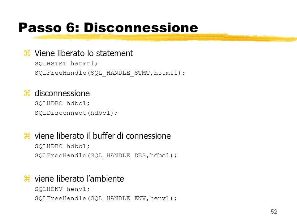 52 Passo 6: Disconnessione zViene liberato lo statement SQLHSTMT hstmt1; SQLFreeHandle(SQL_HANDLE_STMT,hstmt1); zdisconnessione SQLHDBC hdbc1; SQLDisc