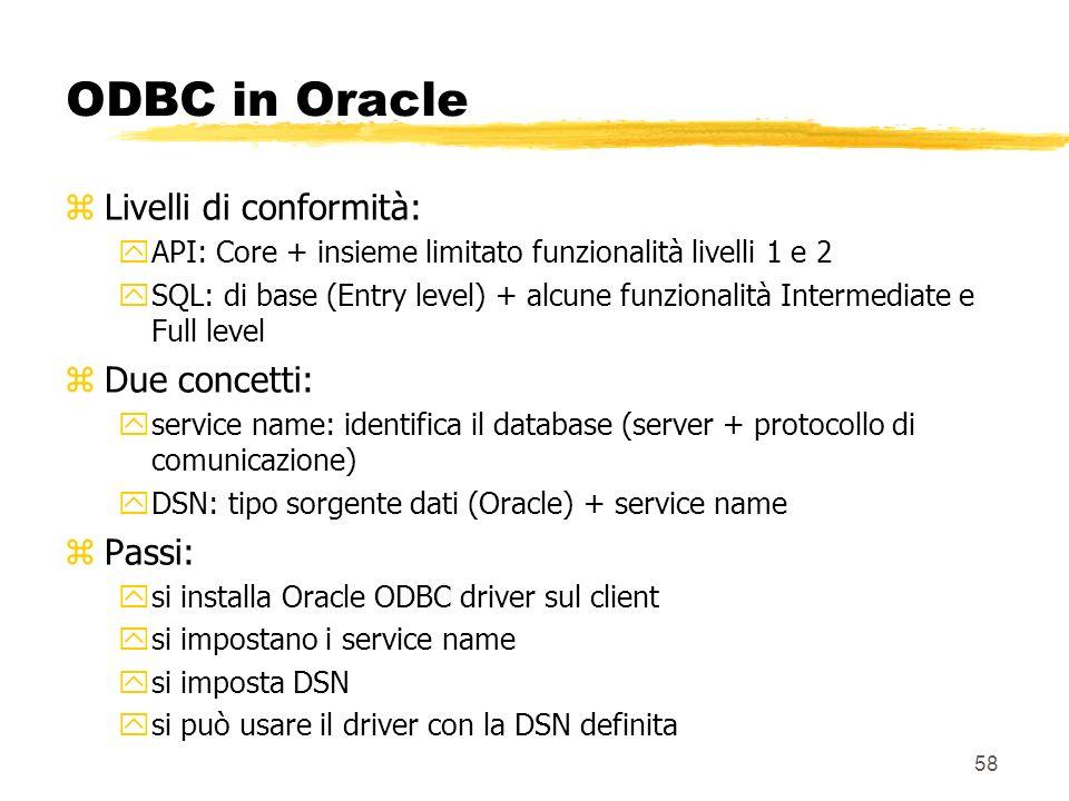 58 ODBC in Oracle zLivelli di conformità: yAPI: Core + insieme limitato funzionalità livelli 1 e 2 ySQL: di base (Entry level) + alcune funzionalità I