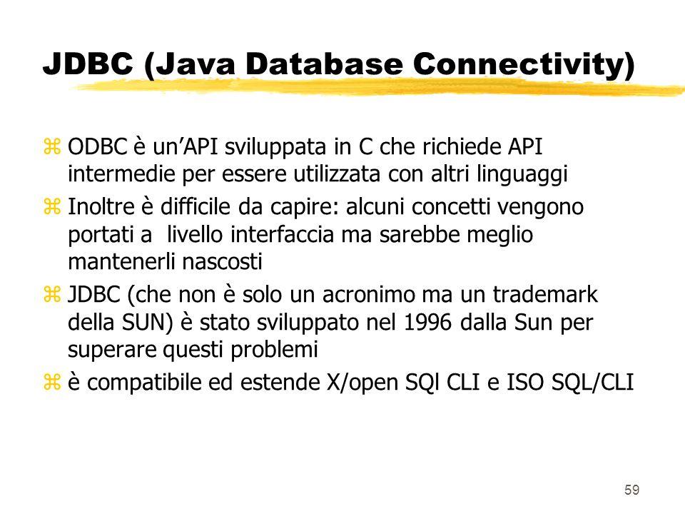 59 JDBC (Java Database Connectivity) zODBC è unAPI sviluppata in C che richiede API intermedie per essere utilizzata con altri linguaggi zInoltre è di