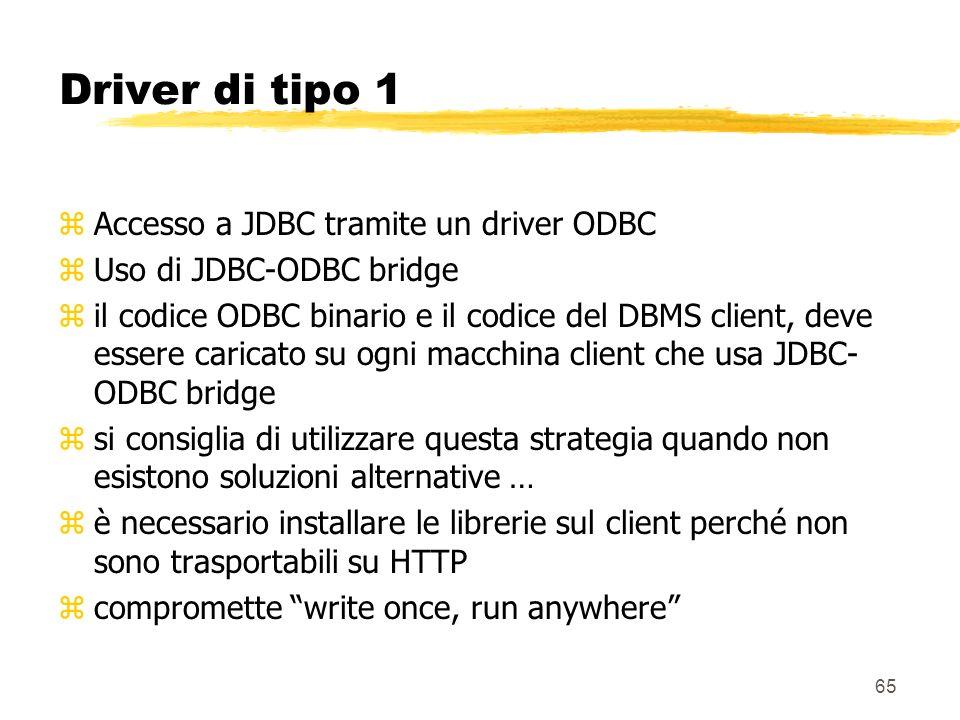 65 Driver di tipo 1 zAccesso a JDBC tramite un driver ODBC zUso di JDBC-ODBC bridge zil codice ODBC binario e il codice del DBMS client, deve essere c