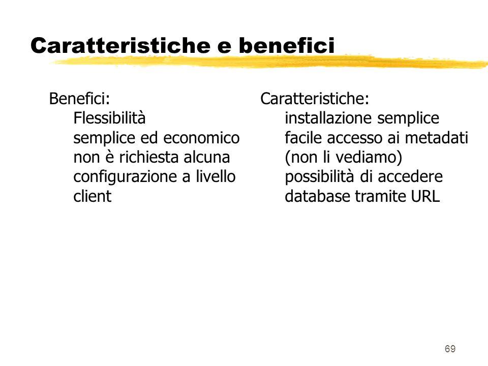 69 Caratteristiche e benefici Benefici: Flessibilità semplice ed economico non è richiesta alcuna configurazione a livello client Caratteristiche: ins
