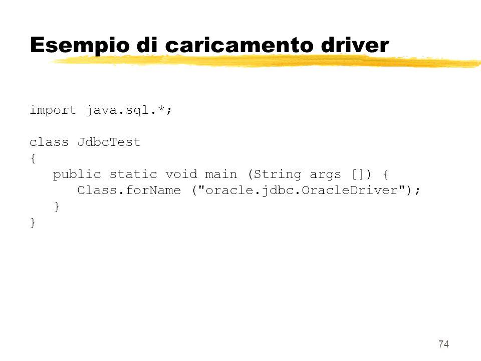 74 Esempio di caricamento driver import java.sql.*; class JdbcTest { public static void main (String args []) { Class.forName (
