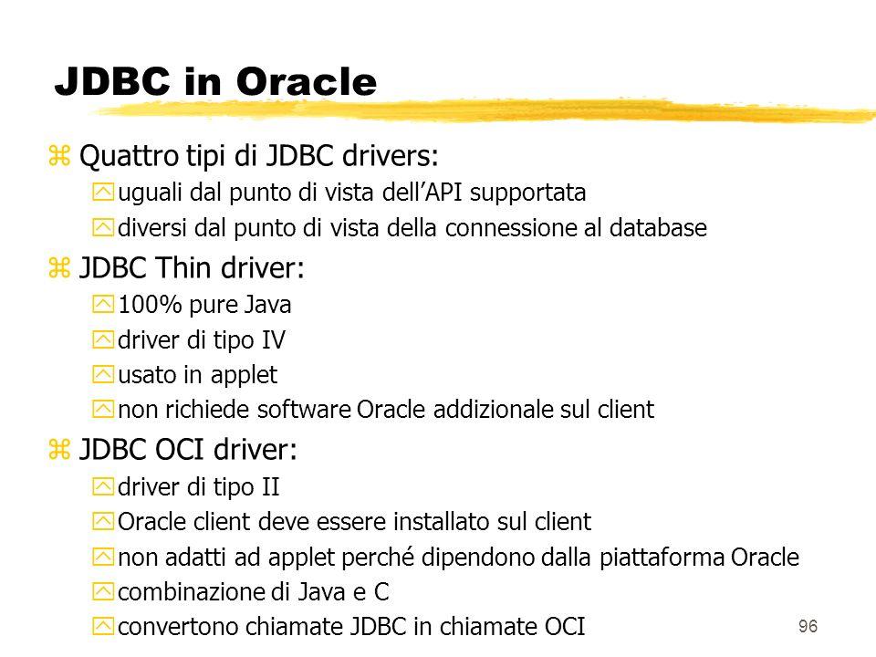 96 JDBC in Oracle zQuattro tipi di JDBC drivers: yuguali dal punto di vista dellAPI supportata ydiversi dal punto di vista della connessione al databa