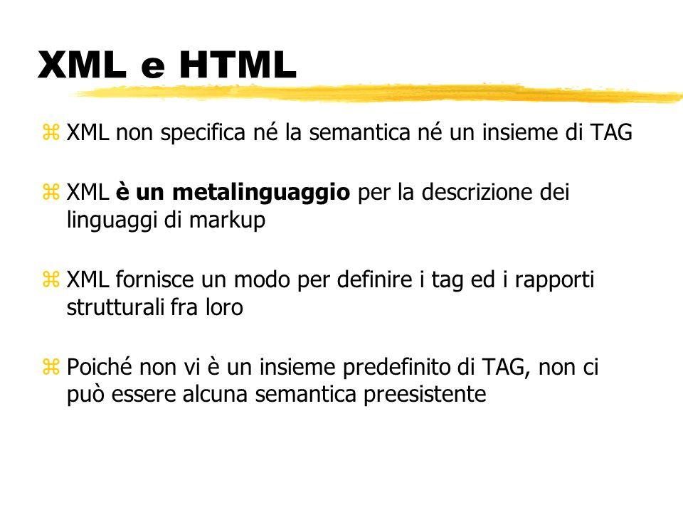 XML e HTML zXML non specifica né la semantica né un insieme di TAG zXML è un metalinguaggio per la descrizione dei linguaggi di markup zXML fornisce u