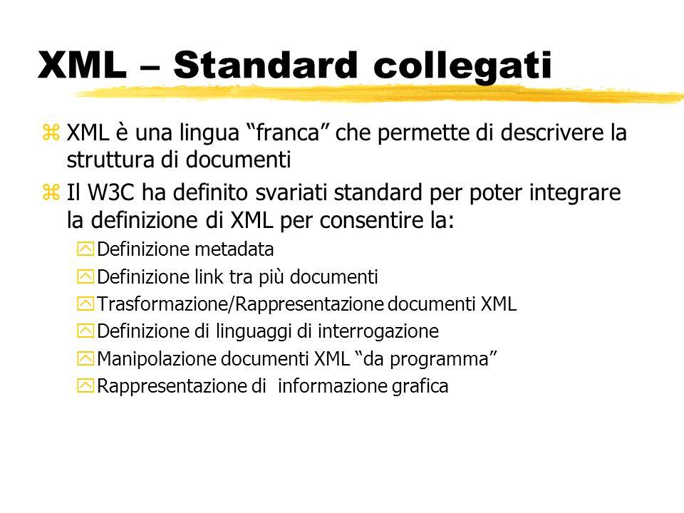 XML – Standard collegati zXML è una lingua franca che permette di descrivere la struttura di documenti zIl W3C ha definito svariati standard per poter
