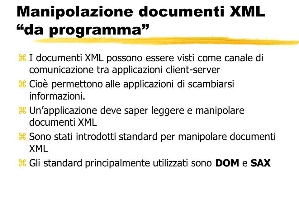 Manipolazione documenti XML da programma zI documenti XML possono essere visti come canale di comunicazione tra applicazioni client-server zCioè perme