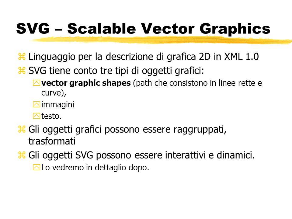 SVG – Scalable Vector Graphics zLinguaggio per la descrizione di grafica 2D in XML 1.0 zSVG tiene conto tre tipi di oggetti grafici: yvector graphic s