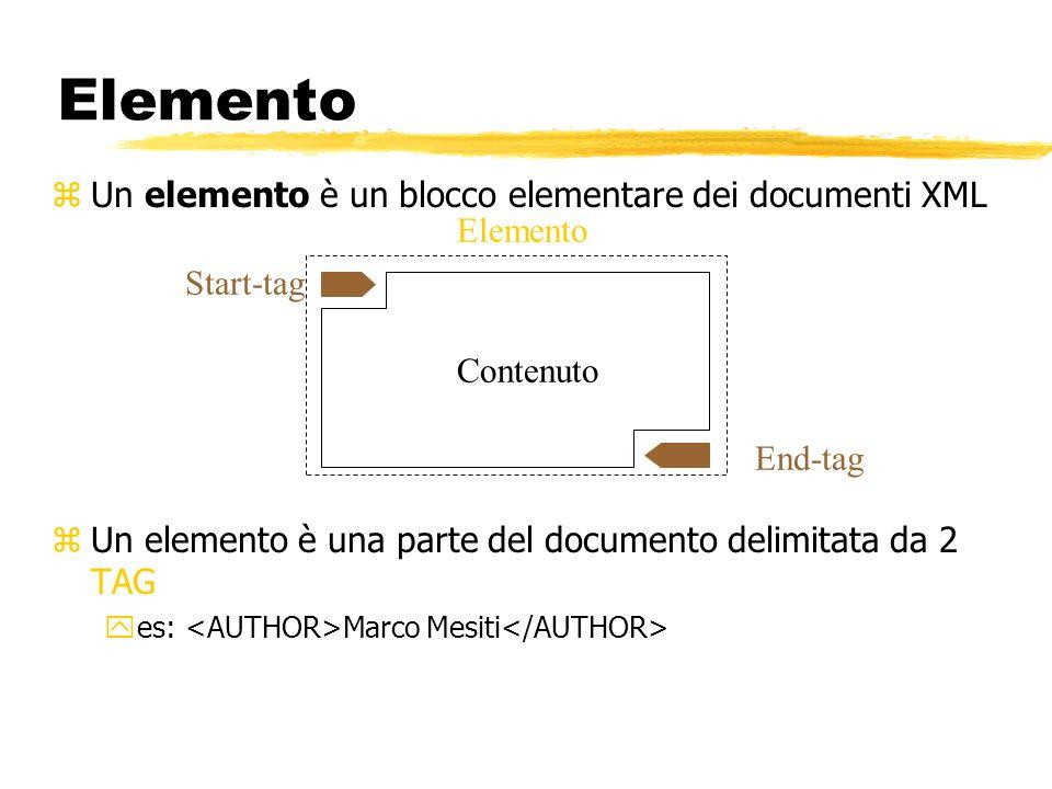 Elemento zUn elemento è un blocco elementare dei documenti XML zUn elemento è una parte del documento delimitata da 2 TAG yes: Marco Mesiti Elemento C
