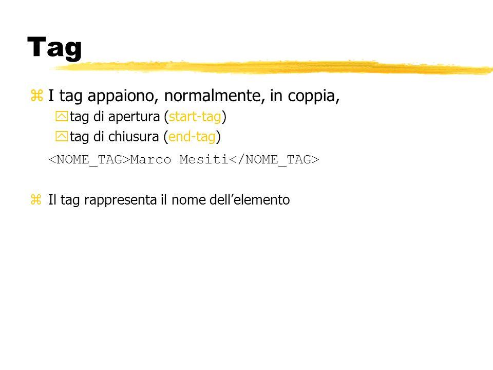 Tag zI tag appaiono, normalmente, in coppia, ytag di apertura (start-tag) ytag di chiusura (end-tag) Marco Mesiti zIl tag rappresenta il nome dellelem