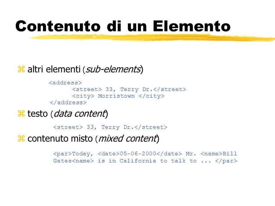 Contenuto di un Elemento zaltri elementi ( sub-elements) 33, Terry Dr. Morristown ztesto ( data content) 33, Terry Dr. zcontenuto misto ( mixed conten