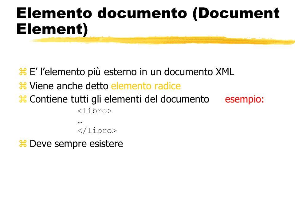 Elemento documento (Document Element) zE lelemento più esterno in un documento XML zViene anche detto elemento radice Contiene tutti gli elementi del