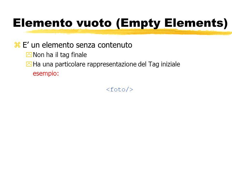 Elemento vuoto (Empty Elements) zE un elemento senza contenuto yNon ha il tag finale yHa una particolare rappresentazione del Tag iniziale esempio:
