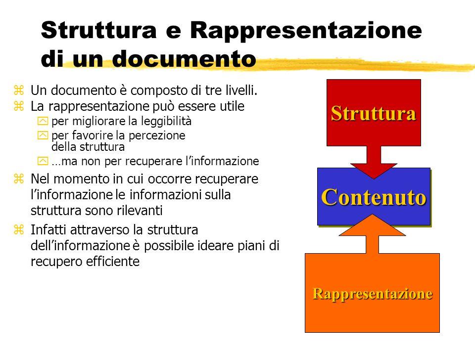 Struttura e Rappresentazione di un documento zUn documento è composto di tre livelli. zLa rappresentazione può essere utile yper migliorare la leggibi