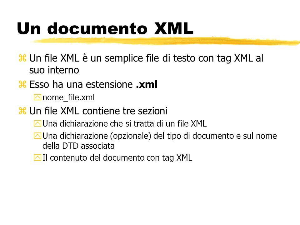 Un documento XML zUn file XML è un semplice file di testo con tag XML al suo interno zEsso ha una estensione.xml ynome_file.xml zUn file XML contiene